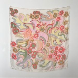 Vtg Kenneth Jay Lane Silk Scarf Mod Painted Design